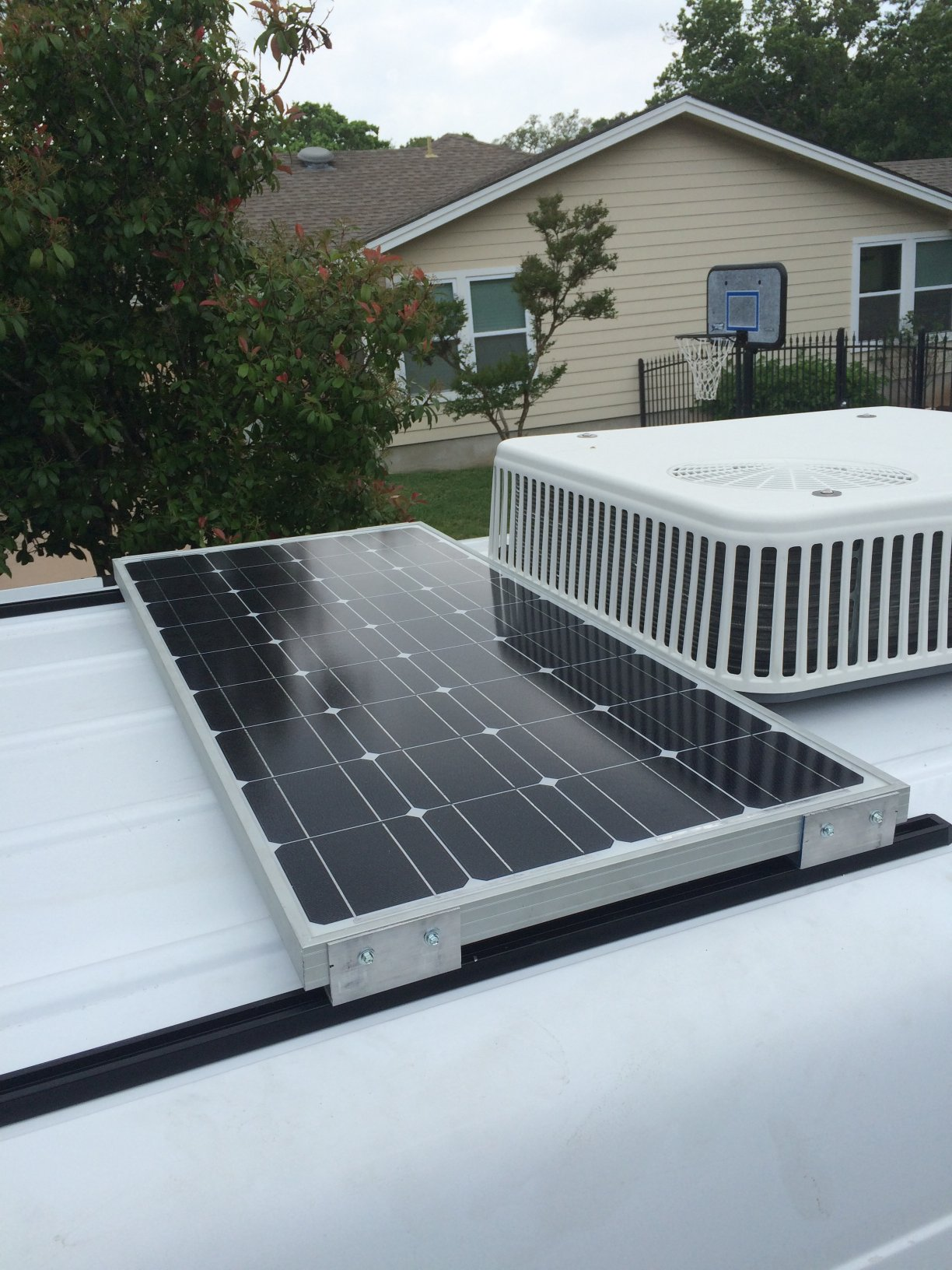 Solar panel on a ProLine Roof Track System